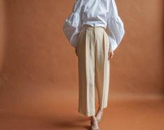 EMANUEL UNGARO beige cropped trousers / wide by persephonevintage