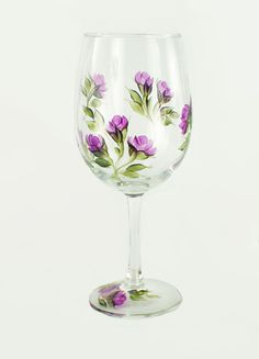 Hand Painted Wine Glasses  Graceful Climbing by HandPaintedPetals, $44.00