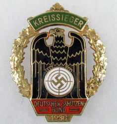 WW2 GERMAN NAZI 1936 KREISSIEGER ENAMELED SHARP SH