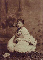 Raymond Roussel, aged 3 - on a swan.