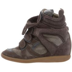 Pre-owned Isabel Marant Beckett Wedge Sneakers ($230) ❤ liked on Polyvore featuring shoes, sneakers, brown, velcro wedge sneakers, perforated sneakers, brown sneakers, suede shoes and wedge trainers