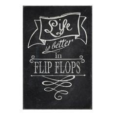 Chalkboard Flip Flops Poster