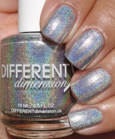 Different Dimension Homespun Holidays Collection Swatches & Review | KellieGonzo | Bloglovin' / Rejoice is a silver linear holographic polish with added shimmers and silver micro flakies