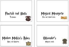 Cartes de jeux de rôle (affiche des magasins) pour acheter ses fournitures sur Diagon Alley.