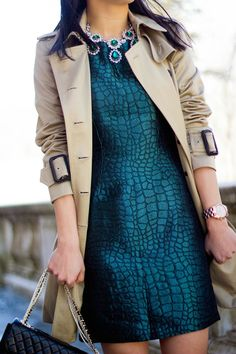 Fall trends we're loving: deep hues like dark teal and burgundy, jacquard patterns, brocade textures, and long trench coats!