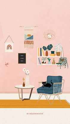 Boutique Interior, 4 Image, Ideas Habitaciones, Ipad Art, Plant Illustration, Aesthetic Art, Art Sketchbook, Gouache, Cute Wallpapers