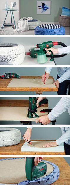 Do-it-Yourself Hocker aus alten Autoreifen #upcycling #DIY #doityourself #Hocker #Autoreifen #Basteln #Wohnen #Bosch #Galaxus Upcycling, Stool, Diy, Upcycle