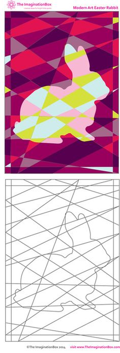 'Modern Art Easter Rabbit' - explore colour and shape with this Easter free download activity from The ImaginationBox