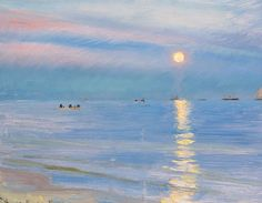 Peder Severin Krøyer (Danish, 1851-1909), Aften ved Skagens Strand. Maaneopgang [Evening on Skagen beach. Moonrise], 1900. Oil on panel.