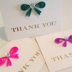 Thank You Quilling Cards Bow Set of 3 by CloudyAfternoon on Etsy, $10.00