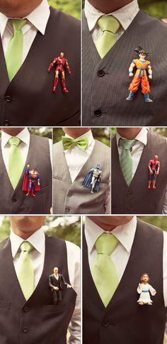 Superheros boutonnieres... OOOOOOO my gosh!!!!! I think yes. Wow. Blew my mind... I love this.