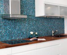 Beautiful kitchen, blue mosaic Blue Mosaic, Beautiful Kitchens, Double Vanity, Sink, Kitchen Cabinets, Interior, Inspiration, Google, Design