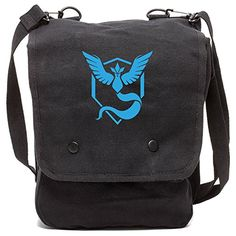 TEAM MYSTIC Canvas Crossbody Travel Map Bag Case in Black -- Details can be found by clicking on the image.