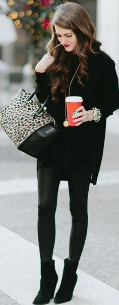 All Everything Black With Pop Of Leopard Fall Street Style Inspo by Southern Curls and pearls #all #all