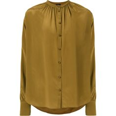 Joseph frilled neck blouse (3,135 CNY) found on Polyvore featuring women's fashion, tops, blouses, green, brown silk blouse, silk top, silk blouse, green top and brown blouse