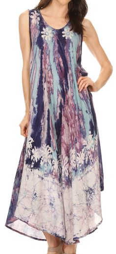 Sakkas Julia Boho Flared Multi-color Marble Batik Cotton Long Dress / Cover Up