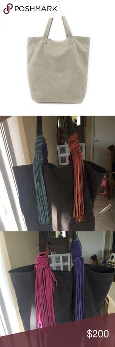 Monserat De Lucca Tote with Tassles Grey tote with multicolor Tassles. like new condition. monserat de lucca Bags Totes