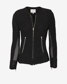 IRO Amiya Mesh Detail Jacket: Black