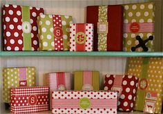 polka dots, christmas presents, gift wrapping, paper, wrapping gifts, ribbon bows, big bows, christmas wrapping, christmas gifts