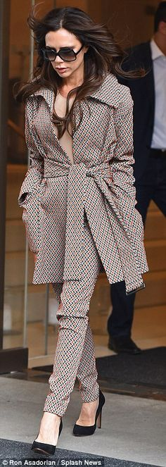 Wow thing: The 41-year-old was pictured heading out in New York wearing a co-ord suit which had a geometric style pattern running throughout