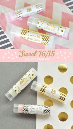 Sweet 16 Favors are easy with these Personalized Lip Balms with custom labels - a unique sweet sixteen favor idea! These elegant sparkly lip balm tube favors are perfect for your pink and gold sweet 16 theme! Personalized Metallic Gold & Silver Foil Lip Balm Tubes are all natural, and infused with organic oils and shea butter. They will surely make your guests feel pampered; this is one favor they wont leave behind! Each lip balm is packaged in a clear glossy tube for a high end spa look…
