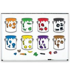 The Splash of Color Magnetic Sorting Set from Learning Resources helps students build color recognition, vocabulary and early math skills. The set includes eight paint bucket frames, 40 magnets and an activity guide for easy lesson planning. Learning Toys, Preschool Learning, Learning Resources, Early Learning, Teacher Resources, Color Activities, Activities For Kids, Preschool Colors, Early Math