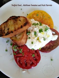 Heirloom tomatoes from the region topped with house made burrata #TASTE14 #ReddWood #Napa #California #Travel