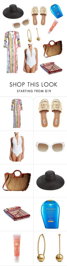 """A day at the BEACH"" by mpisani ❤ liked on Polyvore featuring Missoni Mare, Norma Kamali, Boucheron, Sam Edelman, Eric Javits, Paul Smith, Shiseido, Lancôme and David Yurman"