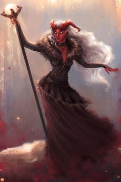 f Tiefling Sorcerer w staff crystal ball mindlesslyred
