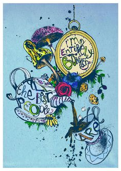 Alice in Wonderland Quote Print - I'm completely bonkers