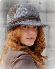 Tweed Fedora Hat Gray Blue Patchwork Trilby by GreenTrunkDesigns