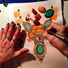 """""""#мастерская_син #sinbead #sinbeadjewelry #sketch #эскиз #watercolor #акварель #мехенди #mehendi #henna #drawing"""""""