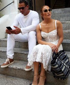 Are Those Wedding Whites, Jennifer Lopez and Alex Rodriguez? Jennifer Lopez and Alex Rodriguez are dressing alike again—and this time, it might be serious. Alex Rodriguez, Couple Outfits, Hot Outfits, J Lo Fashion, Fashion Outfits, Bustier Dress, Lace Dress, Celebs, Celebrities