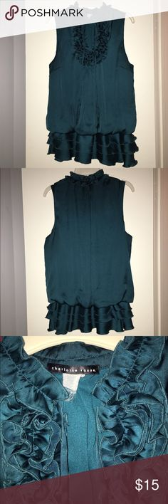 Charlotte Russe ruffled front sleeveless silk top Charlotte Russe teal/green colored top. Silk material. Sleeveless. Ruffled front. Size on tag has worn off as u can see In pic. But I know i purchased it as Medium. Charlotte Russe Tops Blouses