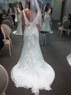 The back of the dress (the ribbon/sash wasn't tied properly) - David's Bridal MB3491