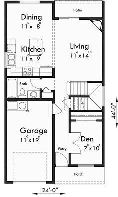 Main Floor Plan for Main floor Bedroom Option, four plex, townhouse, four bedroom, plan Duplex House Plans, Duplex House Design, Apartment Floor Plans, Apartment Renovation, Small House Plans, Town House Floor Plan, Townhouse Designs, Investment Property, Building A House