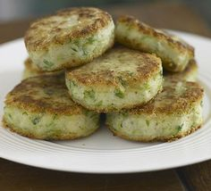 Bubble and squeaks cakes!   Potatoes and Brussels sprouts. Butter, salt and pepper.