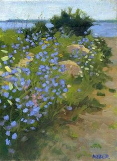Daily Paintworks - Stone walls and chicory by Kathy Weber