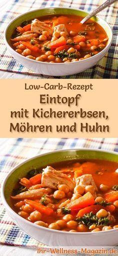 Low-Carb-Rezept für Eintopf mit Kichererbsen und Huhn: Kohlenhydratarm, kalorienreduziert und gesund. Ein einfaches, schnelles Suppenrezept, perfekt zum Abnehmen #lowcarb #suppen