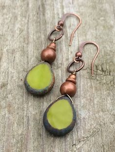 Olive Green Czech Glass and Copper Teardrop Earrings