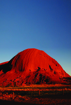 An otherworldly glow of sandstone at Ayers Rock.