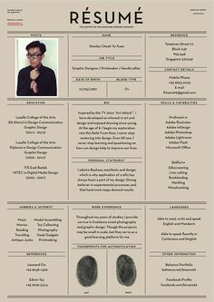Resume On Behance Conception Graphique Design De Cv Infographie