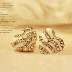 Stylish Sweet Style Rhinestone Embellished Zebra Heart Shape Stud Earrings