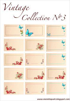 FREE printable  vintage tags with butterflies and roses   MeinLilaPark – digital freebies