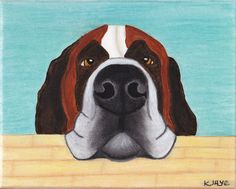 """Funny Saint Bernard Card - For all who love these gentle giants. Inside message reads, """"You said to give you five minutes. It's been five minutes."""""""