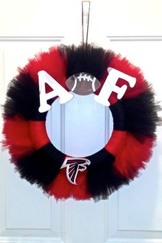 """This 12"""" tulle wreath was custom designed for a fan of the Atlanta Falcons"""