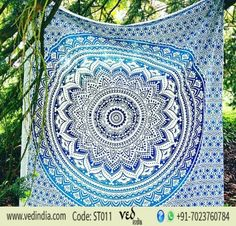 Hippie Mandala Indian Tapestry Blue Ombre Bohemian Wall Hanging Cotton Bedspread Throw Bed Cover for Home Decor