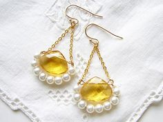 Canary Yellow and White Easter Earrings by smallbluethings on Etsy, $24.00