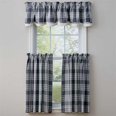 This Slate Dylan Curtain Valance measures 72 x 14 from Park Designs. Check out all of the Dylan Slate collection of table top and window curtain Porch Curtains, Plaid Curtains, Tier Curtains, Cafe Curtains, Valance Curtains, Window Cornices, Fox Decor, Entry Hallway, Living Room Shop