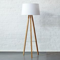 Tripod floor lamp, ash base/white cotton blend shade: West Elm
